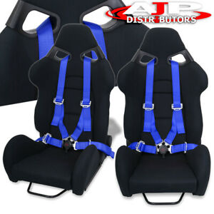 2x Reclinable Black Racing Bucket Cuga Style Seat 2x 4pt Blue Camlock Seatbelt