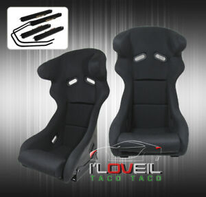 2x Bucket Racing Seats Pro Racer Profi Spg Style W Head Support Black Cloth