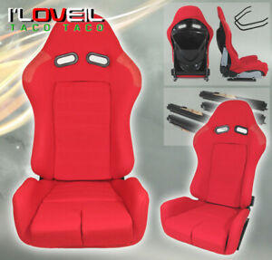 1 Pair Fully Reclainable Racing Red Cloth Seats For Low Maxx Time Attack Drift
