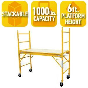 Scaffolding Set 1000 Lb Capacity Adjustable Casters Stackable Weather Resistant