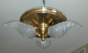 Vntg Mid Century Art Deco Slip Shade Ceiling Mount Light Fixture Chandelier