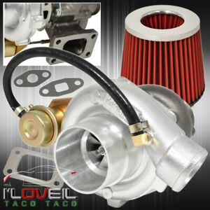 T3 T4 Turbo Charger V band Flange Internal Wastegate Jdm Air Filter Chrome Red