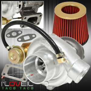 T3 T4 Turbo Charger V band Flange Internal Wastegate Jdm Air Filter Gold Red