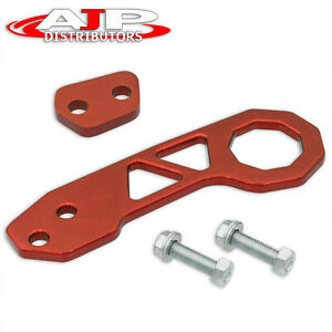 Universal 10mm Jdm Rear Bumper Cnc Aluminum Tow Towing Pull Hook Trailer Kit Red