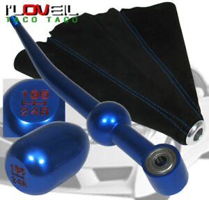 96 97 For 98 00 Honda Civic Blue Short Shifter Race Type Shift Knob Suede Boot