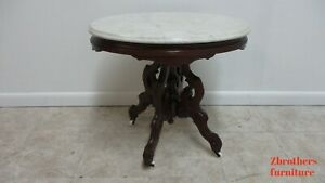 Antique Victorian Carved Walnut Hand Cut Marble Top Lamp End Table