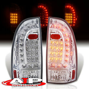 Chrome Clear Led Brake Tail Lights Lamps Left Right For 2005 2015 Toyota Tacoma