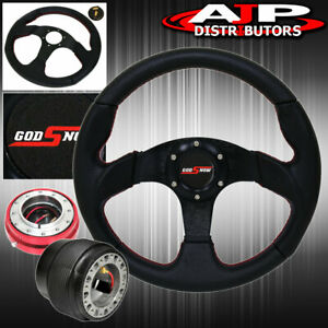 320mm Steering Wheel Hub Red Slim Quick Release Button For 96 05 Civic