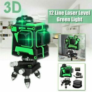 Rotary Laser Level 12 Line Green Light 3d Cross Laser Self Leveling Measure Tool