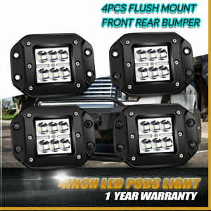 4pc Day Time 4 18w Led Pods Lights Flush Mount Spot For Jeep Ford Atv C2h