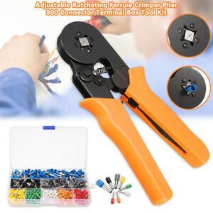 Ferrule Crimper Plier Ratcheting Tool W 800x Cable Wire Terminal Connector Kits
