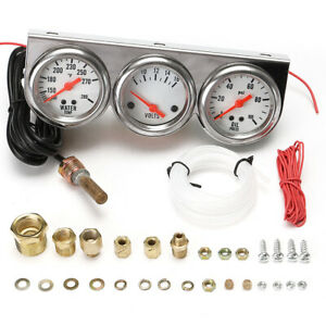 Universal 2 27 Water Temp Voltage Volt Oil Pressure Triple Gauge Set With Panel