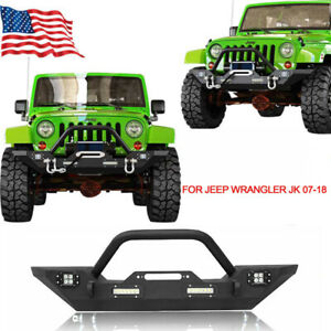 Black Front Bumper Bar W Led Spotlights D rings Fit 07 18 Jeep Wrangler Jk Ty