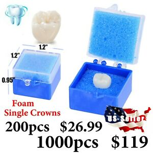 200pcs Or 1000pcs Dental Lab Packaging Plastic Box With Foam Single Crowns Usa