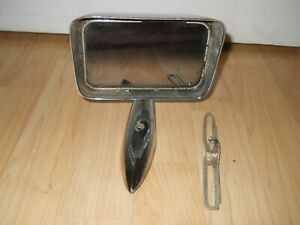 Vintage Side Rear View Mirror Car Chrome Ribbed Inside Edge