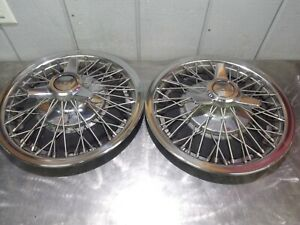 Nice Pair 1964 66 Impala Chevelle Nova Wire Spoke Hubcap Wheel Cover 3834904