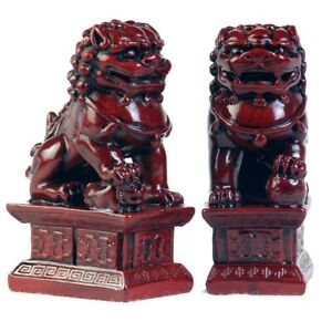 Fu Dogs 4 Red Set Of 2 Fortune Protection Oriental