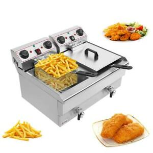 23 6l 25qt Electric Countertop Deep Fryer Commercial Basket French Restaurant