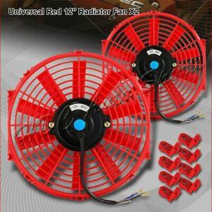 2 X 12 Red Electric Slim Push Pull Engine Bay Cooling Radiator Fan Universal