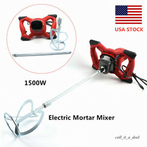 1500w Electric Mortar Mixer Concrete Cement Stirring Tool 6 Speed Adjustable New