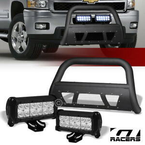 Matte Black Studded Mesh Bull Bar 36w Cree Led Lights For 07 10 Silverado 2500