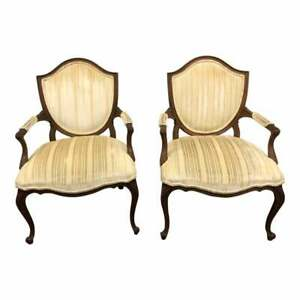 Vintage Arm Chairs Pair French Provincial Louis Xv Bergere Accent Tufted Set 2