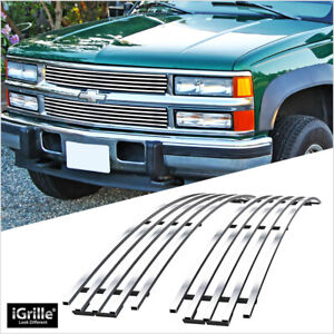 Fits 1994 1999 Chevy C K Pickup Suburban Tahoe Upper Stainless Chrome Grille