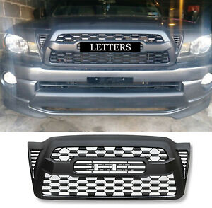 Front Grille Bumper Hood Black Grill For 2005 2011 Toyota Tacoma With Letters