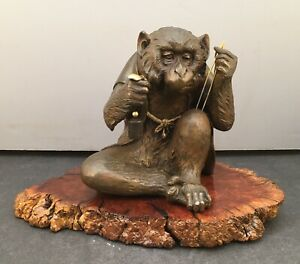 Magnificent Japanese Bronze Multi Metal Okimono Monkey