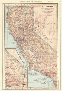 1914 Antique California Map Vintage State Map Of California Wall Art 7476