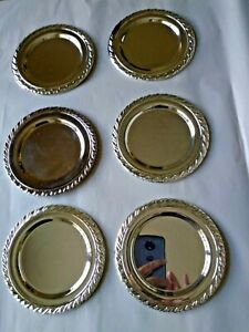 6 Vintage Oneida 6 Silver Metal Charger Plates Glossy Good Condition