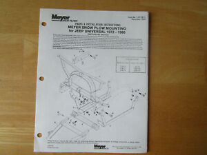 Meyer Snow Plow Mounting For Jeep Universal Parts Installation Instructions