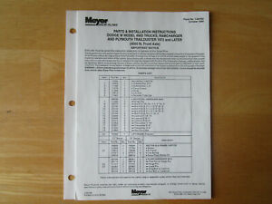 Meyer Snow Plow Dodge W Ramcharger Plymouth Parts Installation Instructions