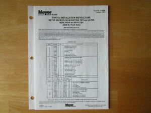 Meyer Snow Plow Mounting 1972 Later W250 W350 Parts Installation Instructions