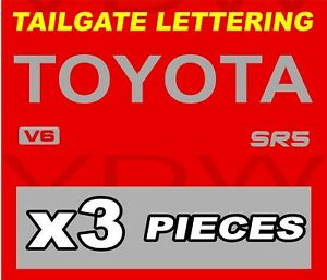 Toyota Truck Tailgate Logos Decal 89 99 Sr5 V6 Tacoma Pickup Silver