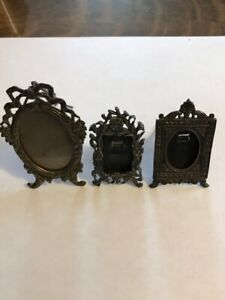 Two Antique Victorian Miniature Sterling Silver And One 800 Silver Photo Frames