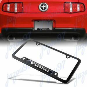 For Mustang Black License Plate Frame Stainless Steel Metal New 1pcs
