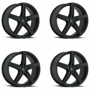 Set 4 17 Vision 469 Boost Satin Black Wheels 17x7 5x112 42mm 5 Lug Street Rims