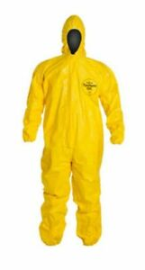 Dupont Tychem Qc Yellow 4xl Coveralls With Standard Fit Hood And Qc127tyl4x00