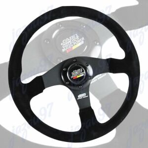14 Mugen Style Racing Black Stitching Suede Sport Steering Wheel W Horn Button