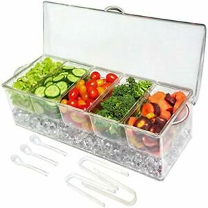 Ice Serving Trays Chilled 5 Compartment Condiment Server Caddy Container With
