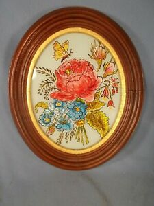 1880s 10 5x12 5 Oval Walnut Picture Frame With Reverse Painted Roses Butterfly