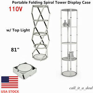 81 Round Portable Folding Spiral Tower Display Case W top Light Clear Panels Us