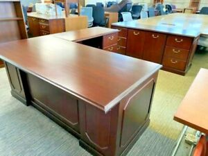 Executive Set L shape Desk W Credenza By First Office By Ofs Office Furniture