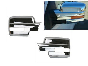 Chrome Side Door Full Mirror Cover Covers Fit 2009 2014 Ford F 150 W turn Signal