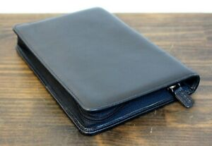Lodis Black Genuine Leather Zip Around Business Organizer Planner Sz 6 25 x9 25