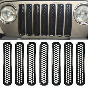 7x Front Mesh Grille Radiator Grill Inserts Trim For Jeep Wrangler Tj 1997 2006