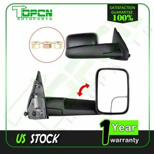 Pair Set Manual Towing Mirrors For 02 09 Dodge Ram Truck Side View Mirror Lh Rh