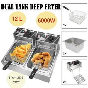 5000w 12 7qt Electric Deep Fryer Dual Tank Frying Cooking Machine Commercial 12l