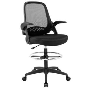 Ergonomic Mesh Drafting Chair With Lumbar Support Flip up Arms Tall Office Chair